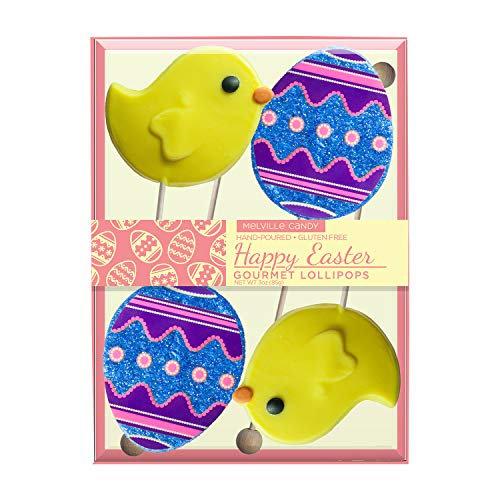 Hand-poured Gourmet Easter Egg & Chick Candy Lollipop, Gift Set by Melville Candy