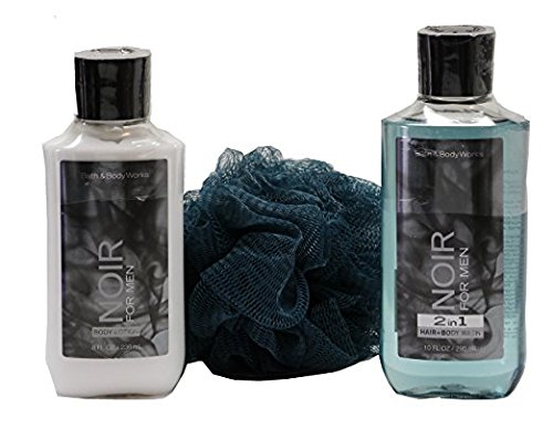 Bath & Body Works Signature Collection Noir for Men Gift Set - Bundle - 3 Items: Body Lotion, 2 in 1 Hair and Body Wash, and Shower Sponge