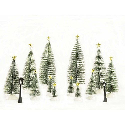 ENNAS Miniautre Pine Tree with Snow Frost Tabletop Trees for Home/Holiday/Village Decor 38 pcs Accessories(included 12 pcs trees,bases,stars and 2 pcs lamps) by ENNAS