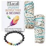 JL Local White Sage Smudge Sticks Bundles Gift Set - California Sage - Smudging & Cleansing Wands (2 Pack w/Bracelet)