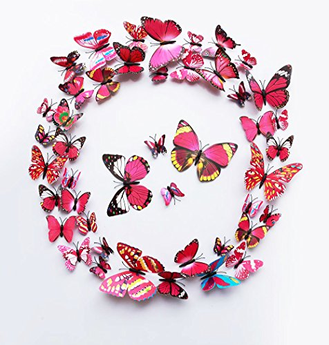 FLY SPRAY 24 Pcs 3D Artificial Rose Butterfly Removable Mural Wall Stickers Wall Decal For Home Decor Nursery Decoration (Brands Upscale Furniture)