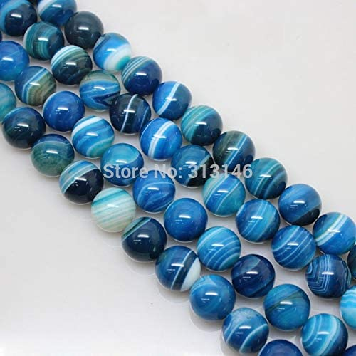 SHENGSHIHUIZHONG Wholesale Natural Round Loose Smooth Blue Stripe Agate Stone Strand Bead DIY Jewellery Jewelry Making Pick Size 4 6 8 10 12 14mm Approx 30 pcs Size : 12mm