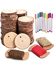 HOHOTIME Natural Wood Slices, 50 PCS 2''-2.5'' Unfinished Predrilled with Hole Wood Discs with Twine, Round Wood Circles DIY Craft Kit for Wedding Decoration Christmas Ornaments