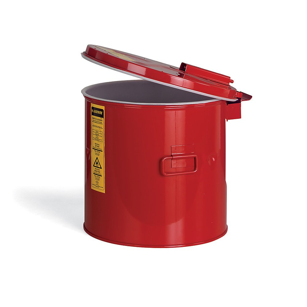 "JUSTRITE Manufacturing 27605 Steel Dip Tank for Cleaning Parts, Manual Cover with Fusible Link, Optional Parts Basket, 5 gal Capacity, 13"" H x 13.75"" O.D, Red"
