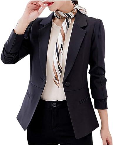 FRAUIT Blazer Mujer Chaqueta de Traje Oficina Negocios Cardigan de ...