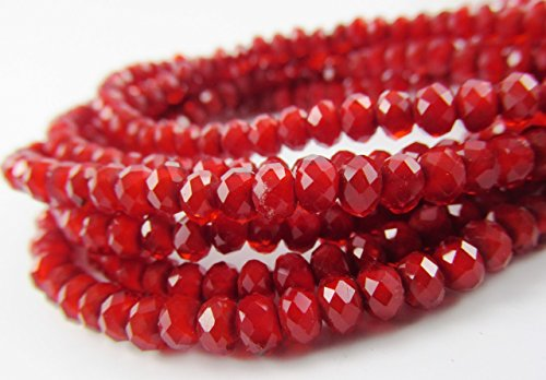 BeadsOne 450pcs Glass Rondelle Faceted Beads 4mm Red Red Opaque C44 Top Quality ()