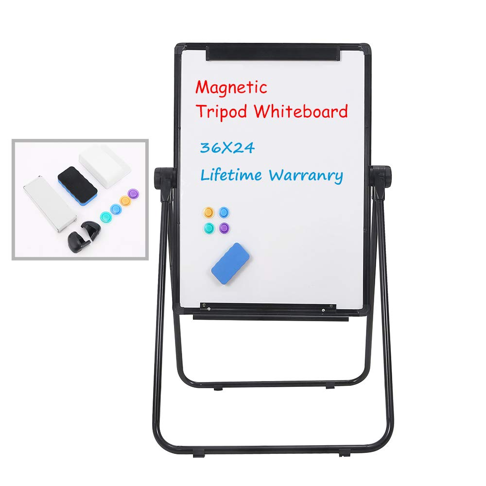 Grope Easel-Style Dry Erase Boards Black Frame Double Sided Portable Whiteboard Height Adjustable Flipchart Easel Office Presentation Board 36 inches x 24 inches (90cm x 60cm) by Grope
