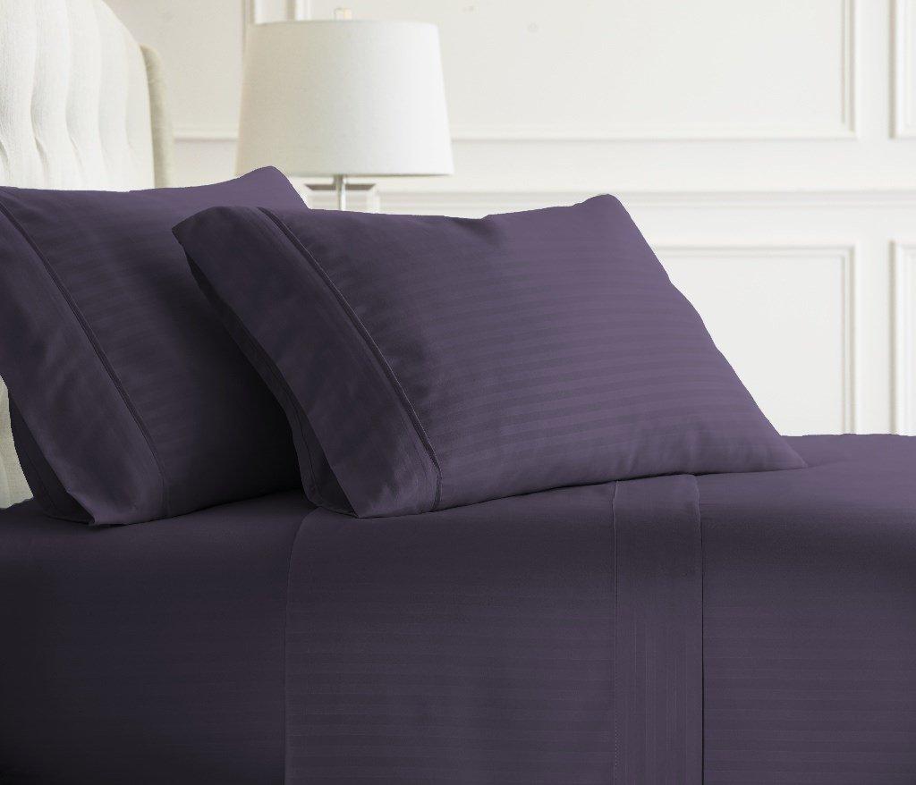 Soft Essentials Premium Embossed Striped Design 4 Piece Bed Sheet Set (California King - Purple)(Pack of 12)