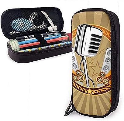 Estuche de marcador de almacenamiento de gran capacidad para micrófono musical, estuche para cosméticos, bolsa de lápiz para organizador de papelería: Amazon.es: Oficina y papelería