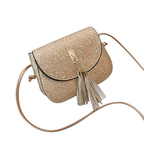 - 2018 New COPPEN Fashion Women Unique Sequins Tassel Leather Crossbody Bag Phone Bag Shoulder Bag (Gold)