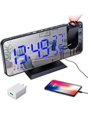 Projection Alarm Clock for Bedroom,7.4 LED Digital Alarm Clock,FM Radio Alarm Clock with USB Charging Port and Power Adapter,Auto Dimmer Mode,Temperature and Humidity,for Bedrooms Living Rooms Clock