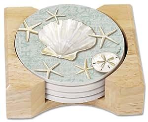 CounterArt Linen Shells Absorbent Coasters in Wooden Holder, Set of 4