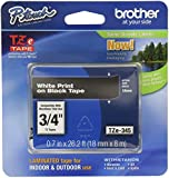 Brother Laminated Tape White on Black, 18mm (TZe345) - Retail Packaging