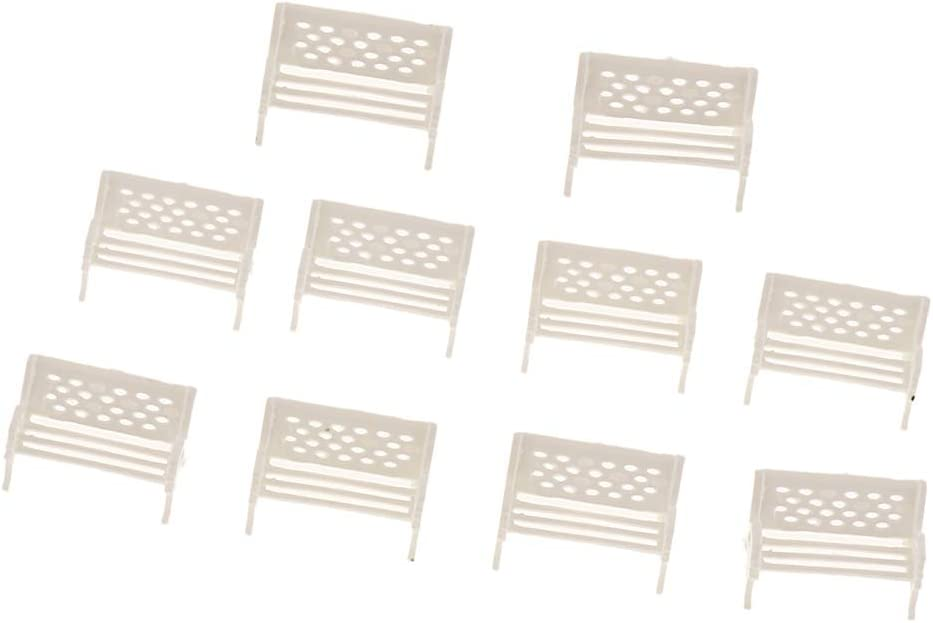 dailymall 10pcs Park Bench Model White 1:100 TT Scale for Dollhouse Layout Or Display
