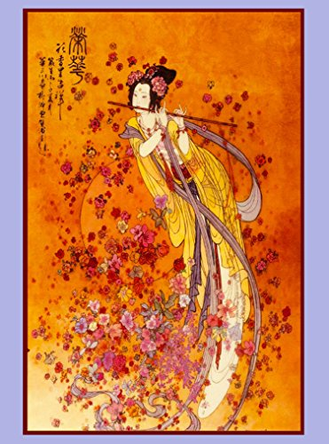 A SLICE IN TIME Japan Japanese Asia Asian Geisha playing flute Travel Advertisement Art Poster