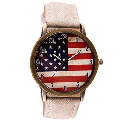 Vintage Vogue American Flag pattern Ninasill Leather Quartz Analog Canvas Strap Watch(White)