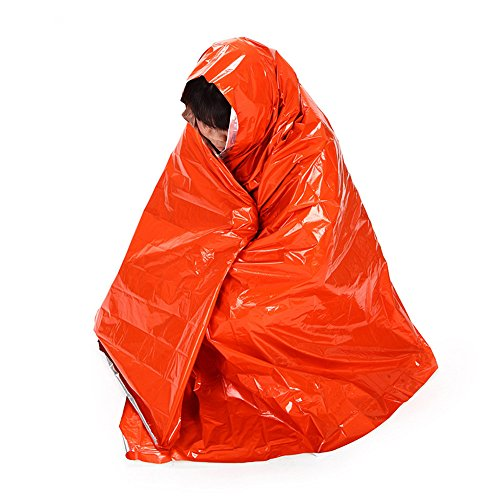 MOJUN 83'' X 51'' Emergency Blankets Orange First Aid Thermal Survival Foil Blanket Warming, Pack of 2 by MOJUN