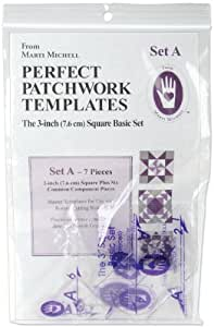 Perfect Patchwork 3-Inch Template Set A, Basic Square Set, Package of Seven