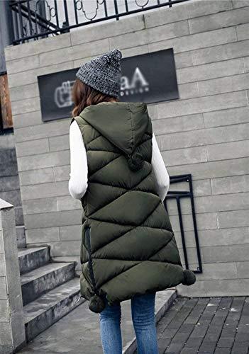 Casuales Termica Elegante Encapuchado Ropa Pluma Áspera Largos Grün Fashion Sleeveless Chaqueta Chaleco Camisolas Outerwear Acolchado Invierno Abrigos Mujer Moda 6xf1wBq
