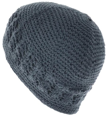 100% Cotton KUFI Crochet Beanie Skull Cap Knit Hat Brand New (Silver)
