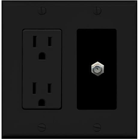RiteAV - 15 Amp Power Outlet and 1 Port Coax Cable TV- F-Type