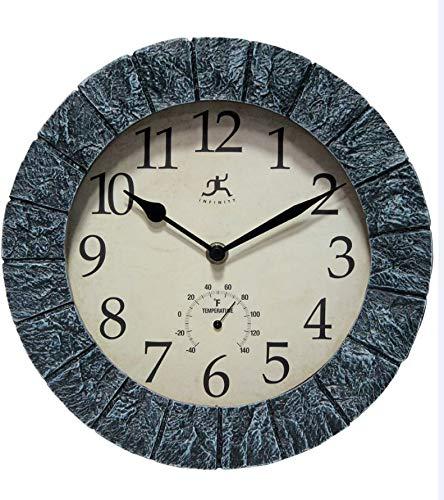 Infinity Instruments Smoky Faux Stone Decorative Wall Clock Black/Off-White