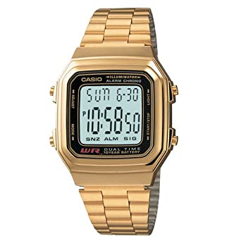 b36df444038 Image Unavailable. Image not available for. Color  Casio Mens Digital  Vintage Quartz Gold Tone Band Digital Dial
