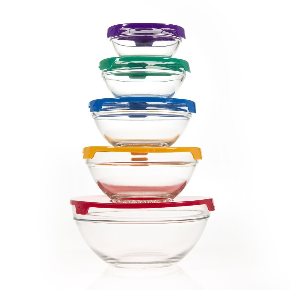 10 Piece Glass Bowl Set with Lids (Microwave, freezer and dishwasher safe)- Packaging may vary PKP 12PG789