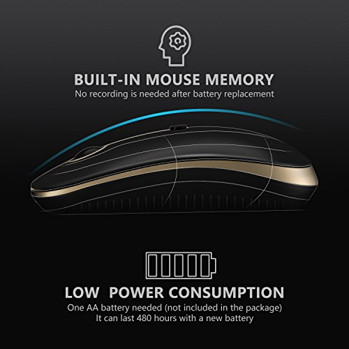 2.4GHz Wireless Bluetooth Mouse, Jelly Comb Dual Mode Slim Wireless Mouse with 2400 DPI for PC, Laptop, Mac, Android, Windows - Black and Gold by Jelly Comb (Image #5)