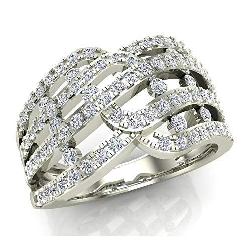 1.00 ct tw Multi Row Waves Diamond Anniversary Band Ring 14K White Gold (Ring Size - Gold Diamond Ring Wave