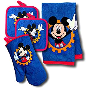 Disney Mickey Mouse & Minnie Mouse 4 Piece Kitchen Set with Oven Mitt, 2 Pot Holders, and Towel Set