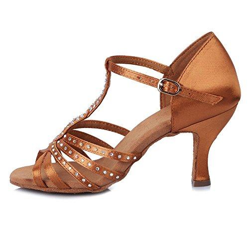 YFF Satin Ballroom Latin Dance Schuhe/Salsa Party Tango Schuhe zum Tanzen Frauen Mädchen Damen Strass Schuhe, Braun, 3,5