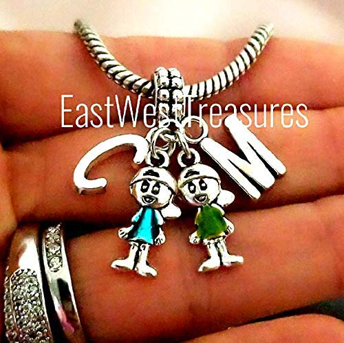 Two  Boys sons grandsons brothers charm pendant for bracelet necklaces-European
