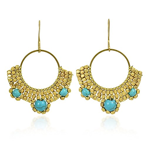 Boho Gold Fashion Brass Beads and Simulated Turquoise Brass Dangle Earrings