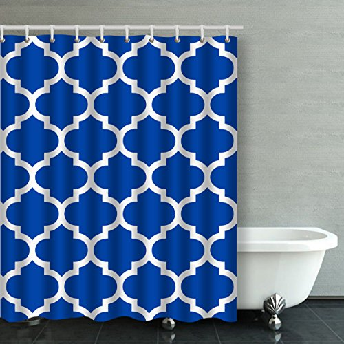 Accrocn Classic Modern Vintage Chic Moroccan Quatrefoil Cobalt Blue And White Pattern 60x72 Inches Waterproof Shower Curtain Curtains Fabric Decorative Bathroom Odorless Eco Friendly Anti (Cobalt Blue Curtains)