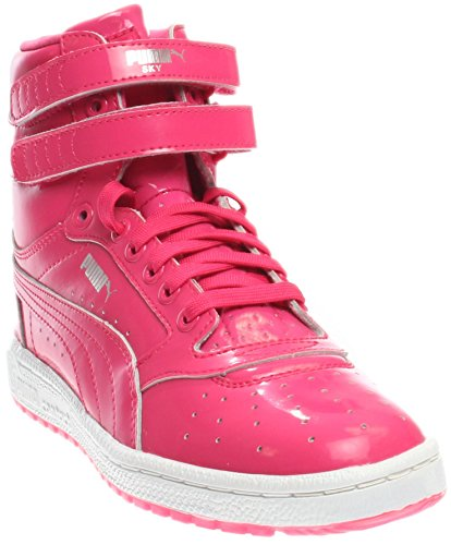 PUMA Girls' Sky II Hi Patent Jr Skate Shoe, Fuchsia Purple Silver, 7 M US Big Kid ()