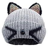 Bellady Mother Children Sequin Cat Ears Hats Warm Knit Crochet Beanies Cute Fashion Skull Cap,Adult_ Grey