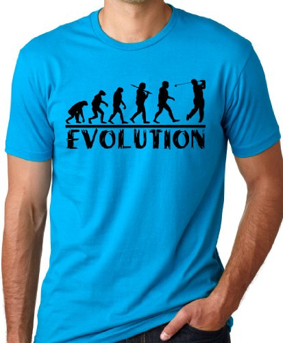 Golf Evolution Funny T-shirt Golfer Humor Tee Turquoise (Father Golf Shirt)
