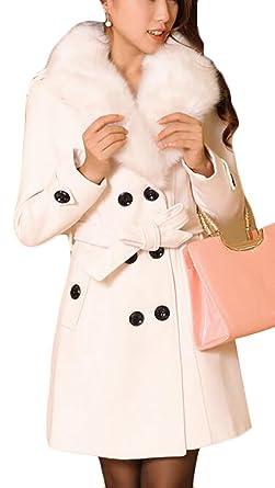 71b2fe8be6333 Generic Women s Plus Size Faux Fox Fur Lapel Double Breasted Trench Woolen Pea  Coat White XXXL