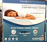 Novaform Gel Memory Foam 3 Inch Mattress Topper Queen Size Bedding