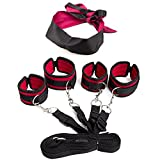 Jesries Bed Restraint System Set With Eye Mask Adjustable Mattress Bondage Restraints Kit With Cuffs For Ankles and Wrists Fits Almost Any Size Mattress
