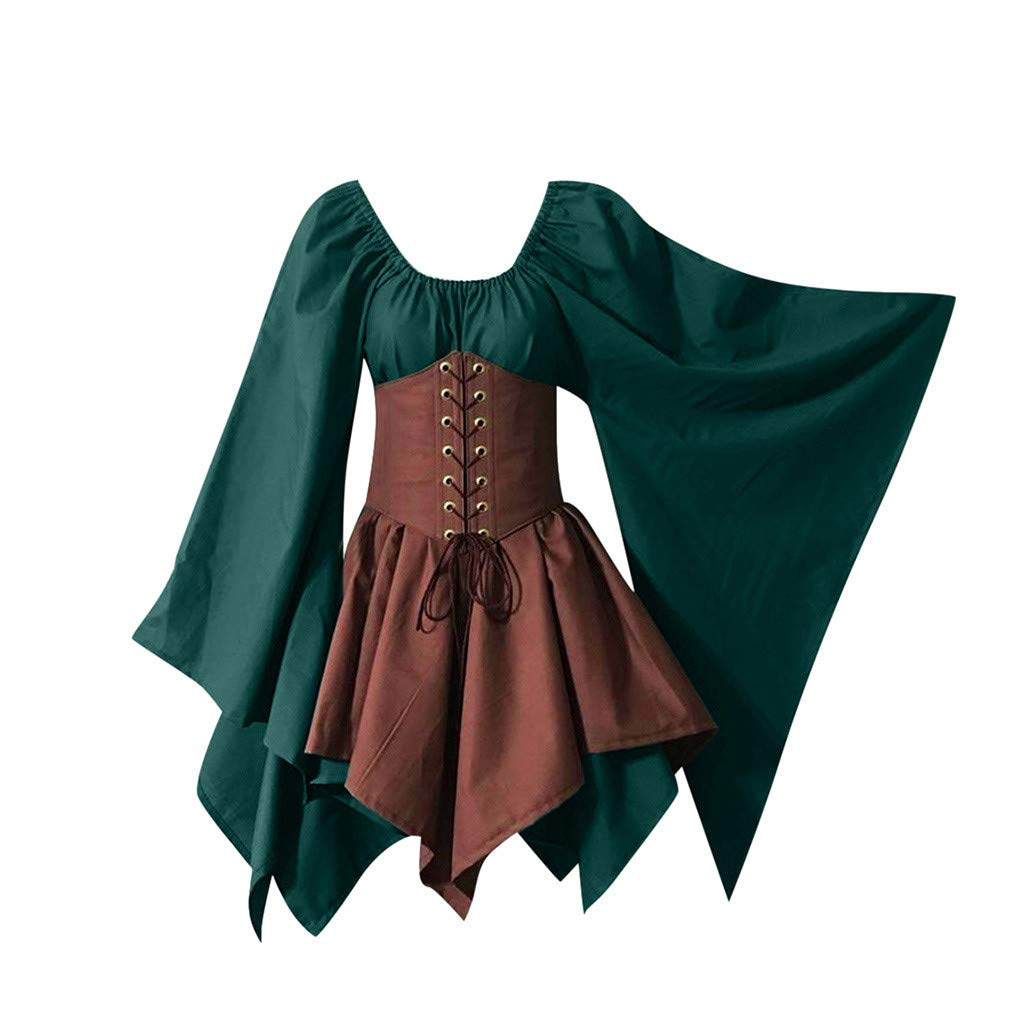 Xinantime Womens Halloween Dress Medieval Cosplay Costumes Gothic Retro Long Sleeve Corset Dress Green Khaki by Xinantime