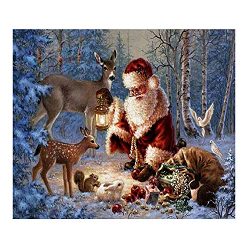 Cinhent Diamond Painting, DIY 5D Drill Cross Stitch Kits Crystal Rhinestone Decor Embroidery Arts Craft, School/Bar / Hotel Wall Arts, 40 ×30CM,Outdoor Santa Claus Holding a Candlelight to Feed The - Santa Framed Tile