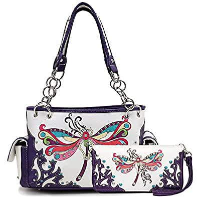 Western Colorful Dragonfly Printed Shoulder Bag Women's Top Handle Totes Handbags Wallet Set (Purple)