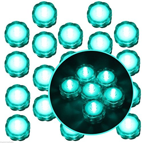 Moondon 20 Pcs Turquoise Submersible Waterproof Underwater Battery LED Tea Light Wedding by Moondon Home