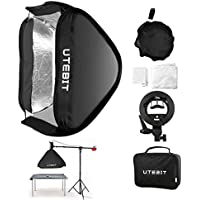 UTEBIT Godox Speedlight Softbox for Bowens 24 x 24 / 60 x 60cm S-Type Bracket Foldable Speedlite Softboxes Kit with S Type and Portable Carry Bags for Photography Flashlight