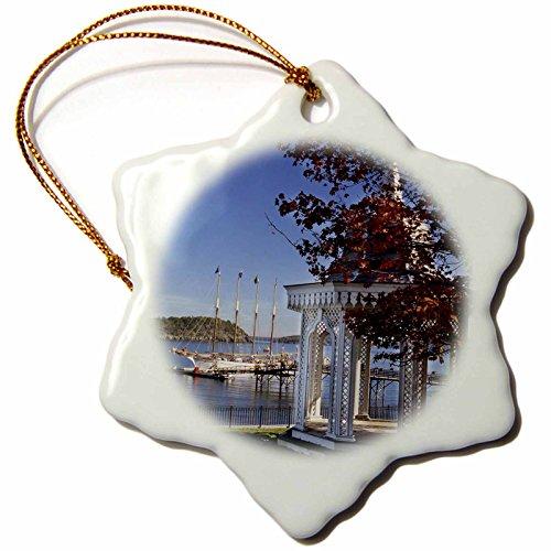 Bar Ornament Harbor (3dRose Danita Delimont - Sailing - Maine, Bar Harbor. Sailing ship - US20 JGI0005 - Jerry Ginsberg - 3 inch Snowflake Porcelain Ornament (orn_90651_1))