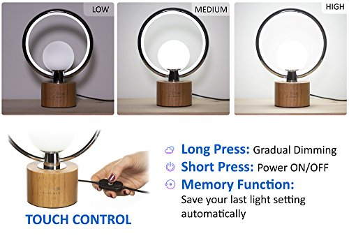 Modern LEDGloriole Desk Lamp with Unique Shade – Bedroom Lamps with Natural Wooden Base – Luxury Bedside Table Lamp – Well-Designed LED Light Perfect for Bedroom or Office by LEDGloriole (Image #2)