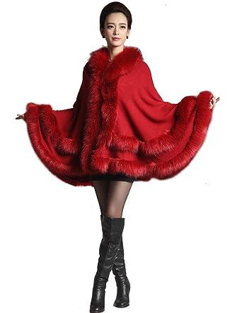 92814d9066422 Kranda Women s Faux Fox Fur Trim Hooded Cape Wool Blend Cloak Winter Warm Coat  Plus Size