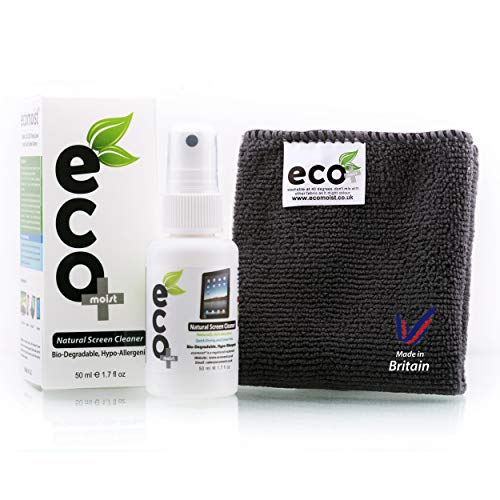 EcoMoist Natural Organic Screen Cleaner with Microfiber Cleaning Cloth Best Spray Kit For TV Computer Laptop Lcd Led
